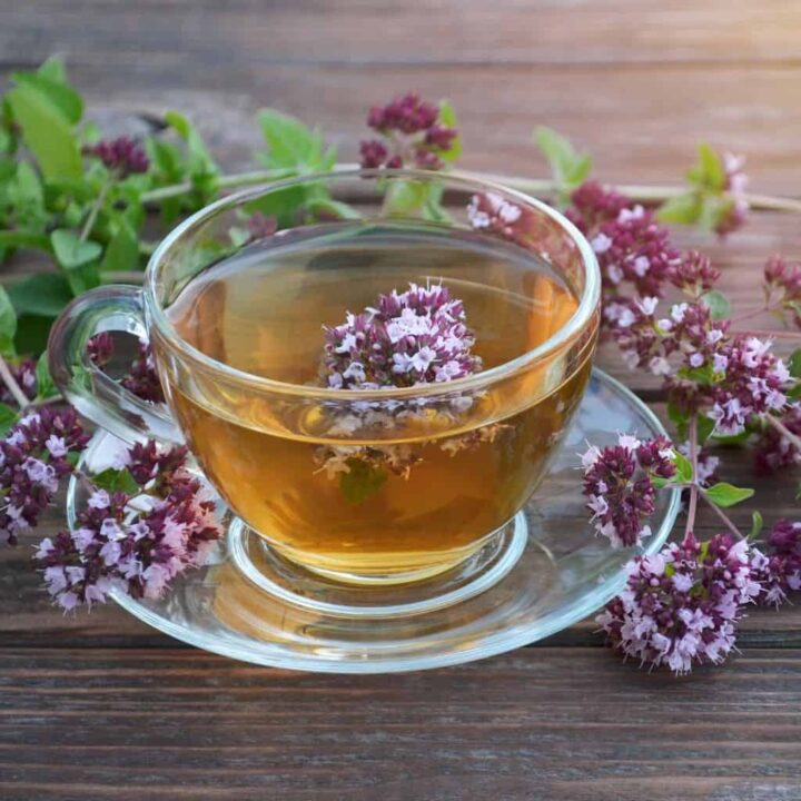 A glass cup full of tea with oregano flowers inside the cup and surrounding the cup.