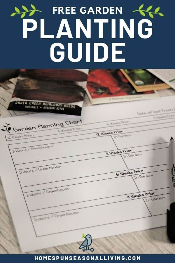 A garden planning chart sitting on a table with a pen and seed packets with text overlay stating: Free Garden Planting Guide