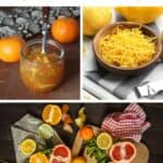 A text block stating: citrus complete guide sitting on top of two photos. the photo on the left is an open jar of marmalade surrounded by clementies, the photo on the right is a bowl of lemon peel strips. Those photos sitting on top of another photo ofA variety of citrus whole and cut in half on a wooden board and linens scattered on a table.