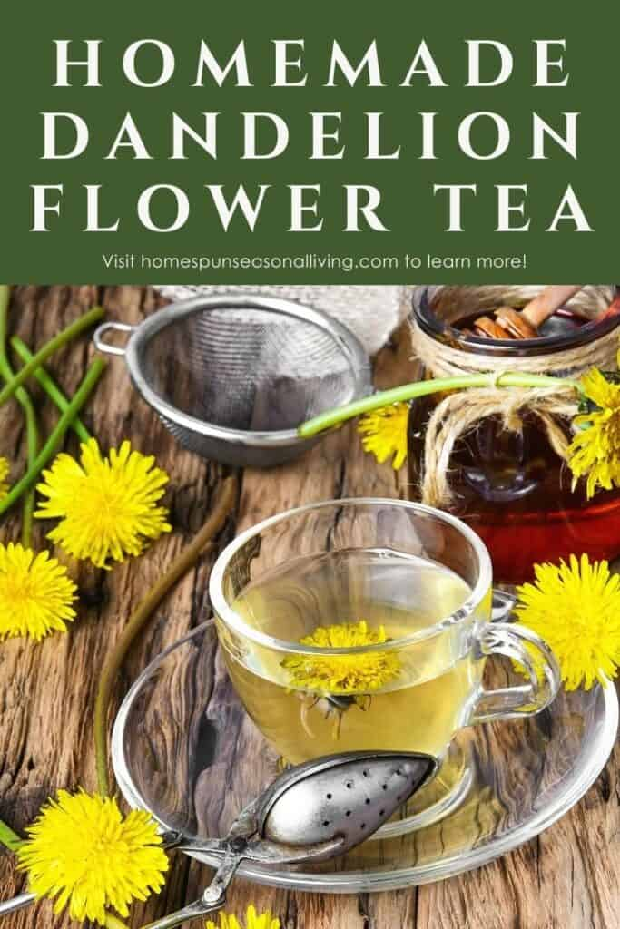 A clear glass mug full of yellow tea sitting on a saucer surrounded by a metal tea ball, dandelion flowers, and a bowl of honey with text overlay stating: homemade dandelion flower tea.