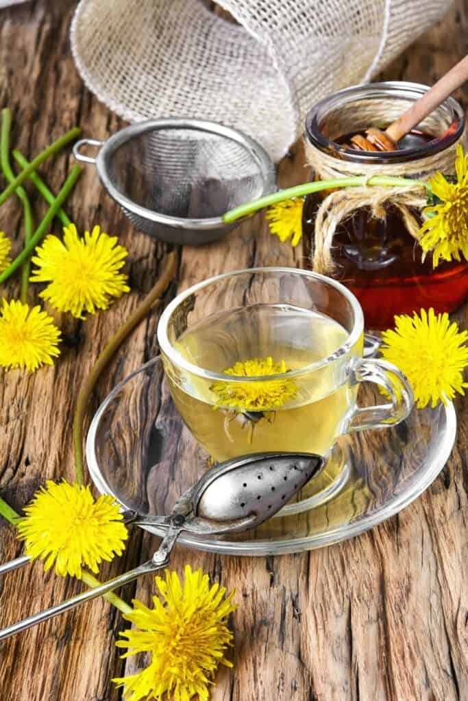 A clear glass mug full of yellow tea sitting on a saucer surrounded by a metal tea ball, dandelion flowers, and a bowl of honey.