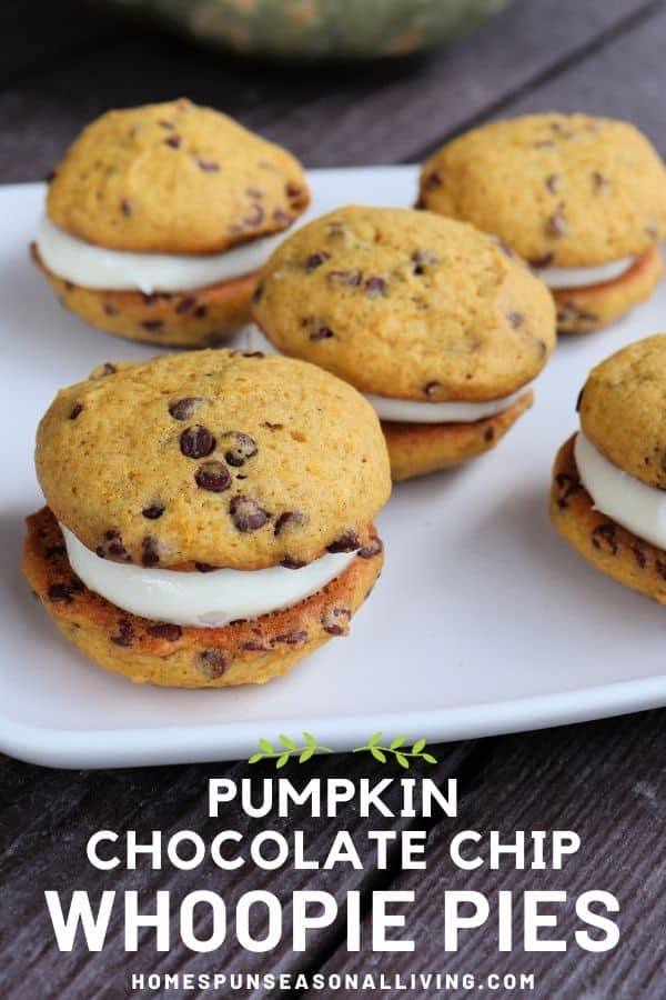 A plate full of sandwich cookies with chocolate chips on a table with text overlay stating: pumpkin chocolate chip whoopie pies.