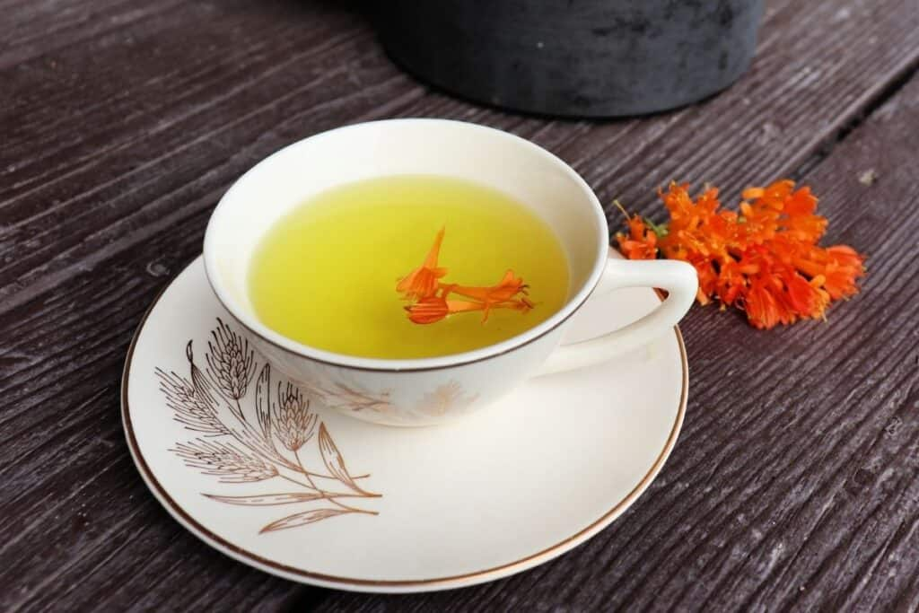 A teacup full of honeysuckle tea with orange blossoms floating on top, sitting on a saucer, fresh honeysuckle blossoms sitting to the right of the saucer, and a teapot behind.